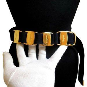 Salvatore Ferragamo VARA Navy Blue Leather Belt